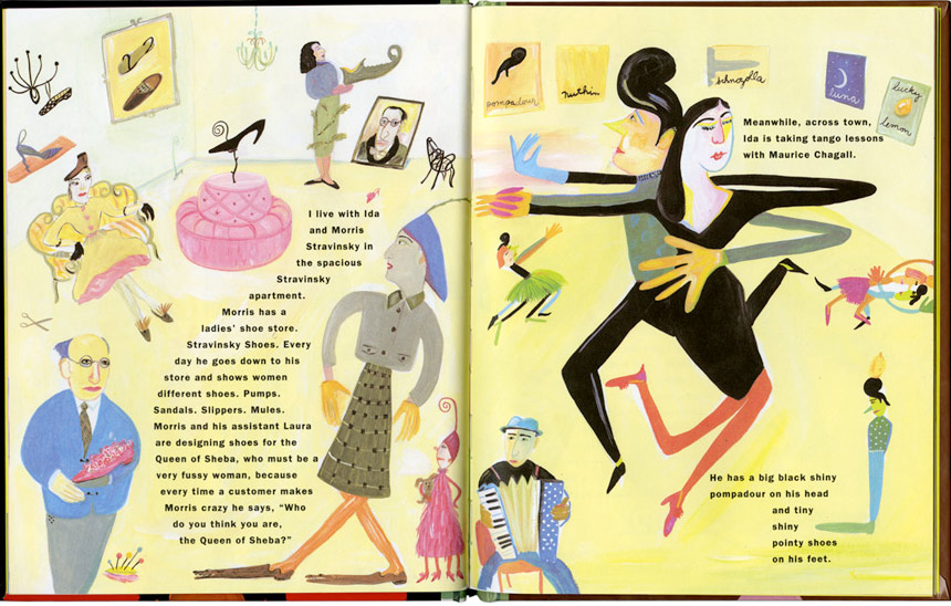 "ABOVE: Spread from Maira Kalman's book ""Max Makes a Million"" (C) 1990, Viking Penguin. BELOW: Spread from Clarence and The Spoon."