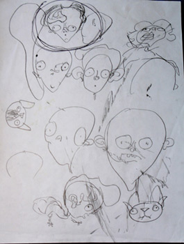Page of sketches where I locked on the look of Clarence, circled above.