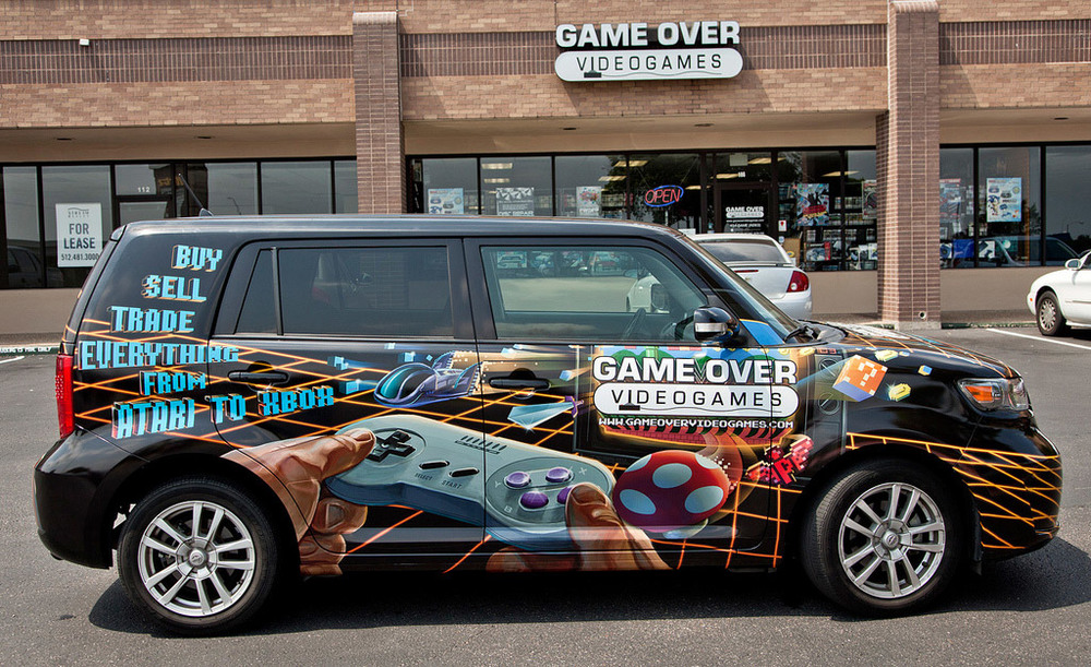 Gameover Videogames Van Wrap | Photoshop