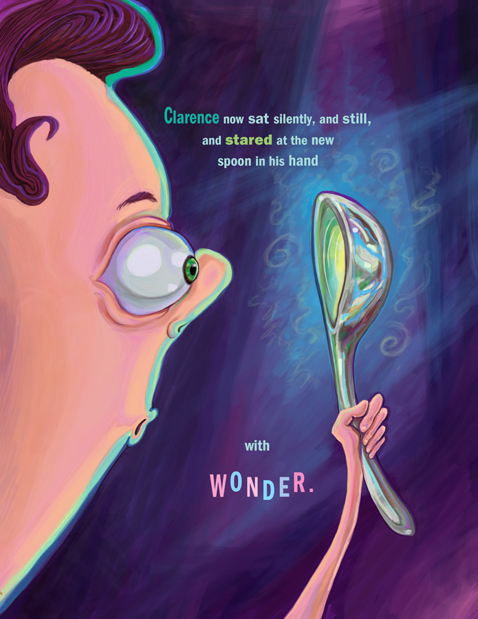 Clarence and The Spoon | Photoshop | InDesign