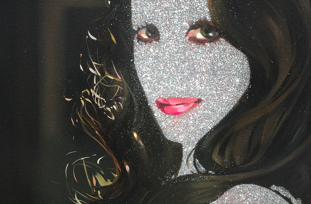 "Rebecca Campbell, Glitter Girl (detail,) 2015, oil on canvas, 84"" x 65"""