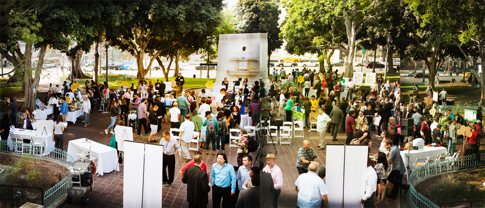 Informational booths setup by the various sponsors and participating organizations at LA City Hall.