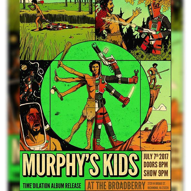 "*Official Album Release Show Announcement*  We here at Murphy's Kids are very excited to announce the release of our brand new record ""Time Dilation"" on July 7th at The Broadberry!  When you order your presale ticket you get a download of the album FOR FREE!! We will be sharing the bill with RVA reggae heavy hitters Mighty Joshua, DC ska jazz specialists Eastern Standard Time, and RVA rockabilly rowdies Chrome Daddy Disco!  Time Dilation was recorded and mixed at The Ward by Bryan Walthall, Mastered by Dan Millice with album and show poster artwork by Bizhan Khodabandeh at Mended Arrow.  Let us know you're coming here: https://www.facebook.com/256042064865213  Buy your ticket and get your FREE DOWNLOAD of ""Time Dilation"" here: http://ticketf.ly/2r3bhBa  #timedilationnation #recordrelease #newmusic #secretsongs #murphyskids #rvaska #rvamusic #localrva #rootsrockreggae #stoked #hotfire #broadberry #newmusic"