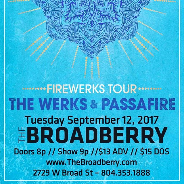 Pew pew pew! Opening this show at #thebroadberryrva a week from today, Tuesday September 12th!  We'll be warming up the stage for #passafire and #thewerks! We've got some special dubs set up to help with your levitation so come hang out!! #rvashows #rvaska #rvareggae #rvarock #dub #dubscience