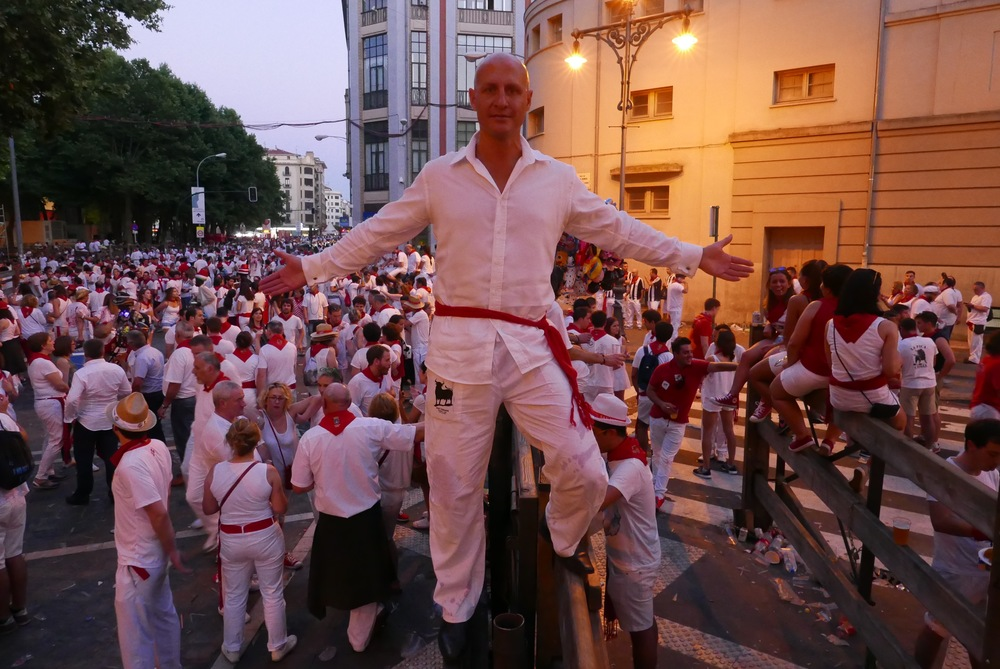Celebrating on my barrier after the running of the bulls