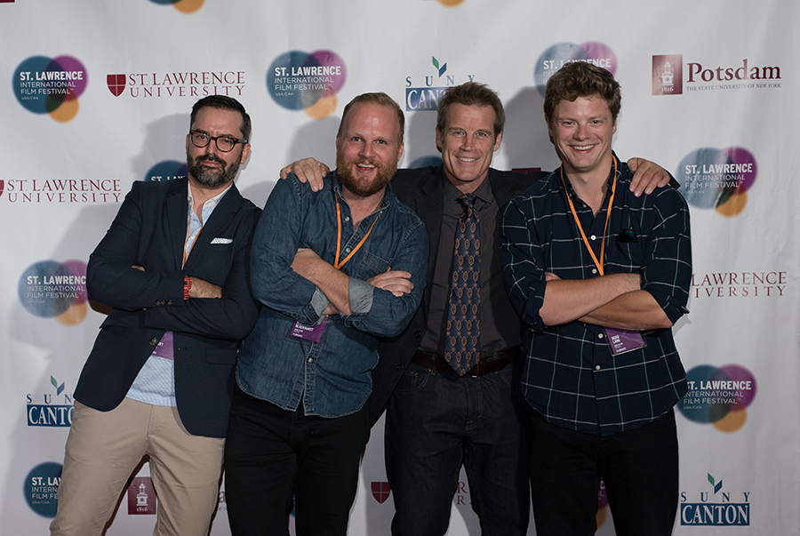 Empire State Filmmaker Award Honorees   David Ebeltoft, Rod Blackhurst, Noah Lang (pictured with host Mark Valley)