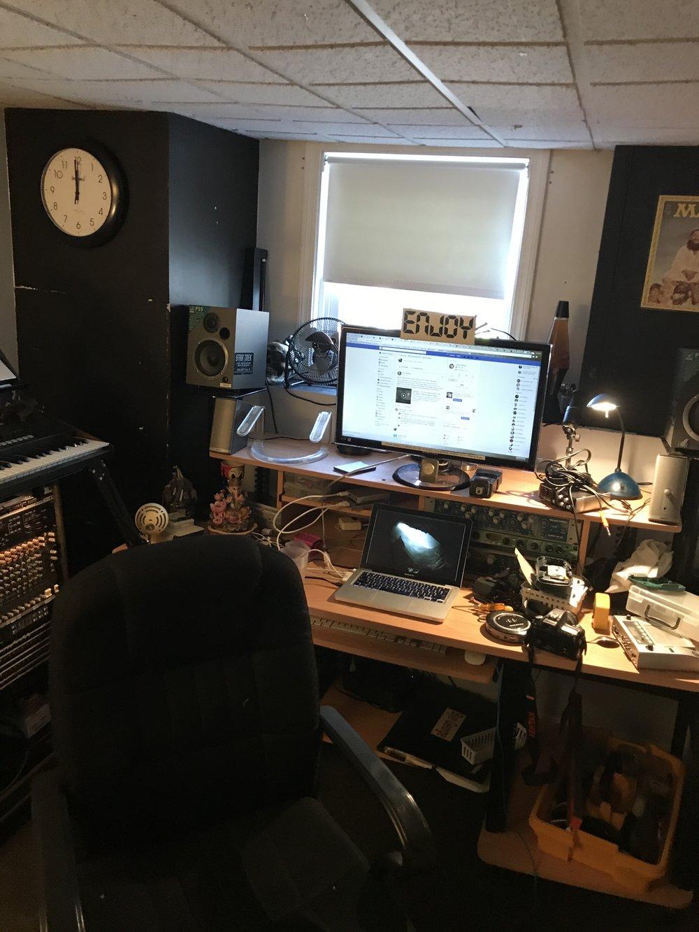 Messy desk shot