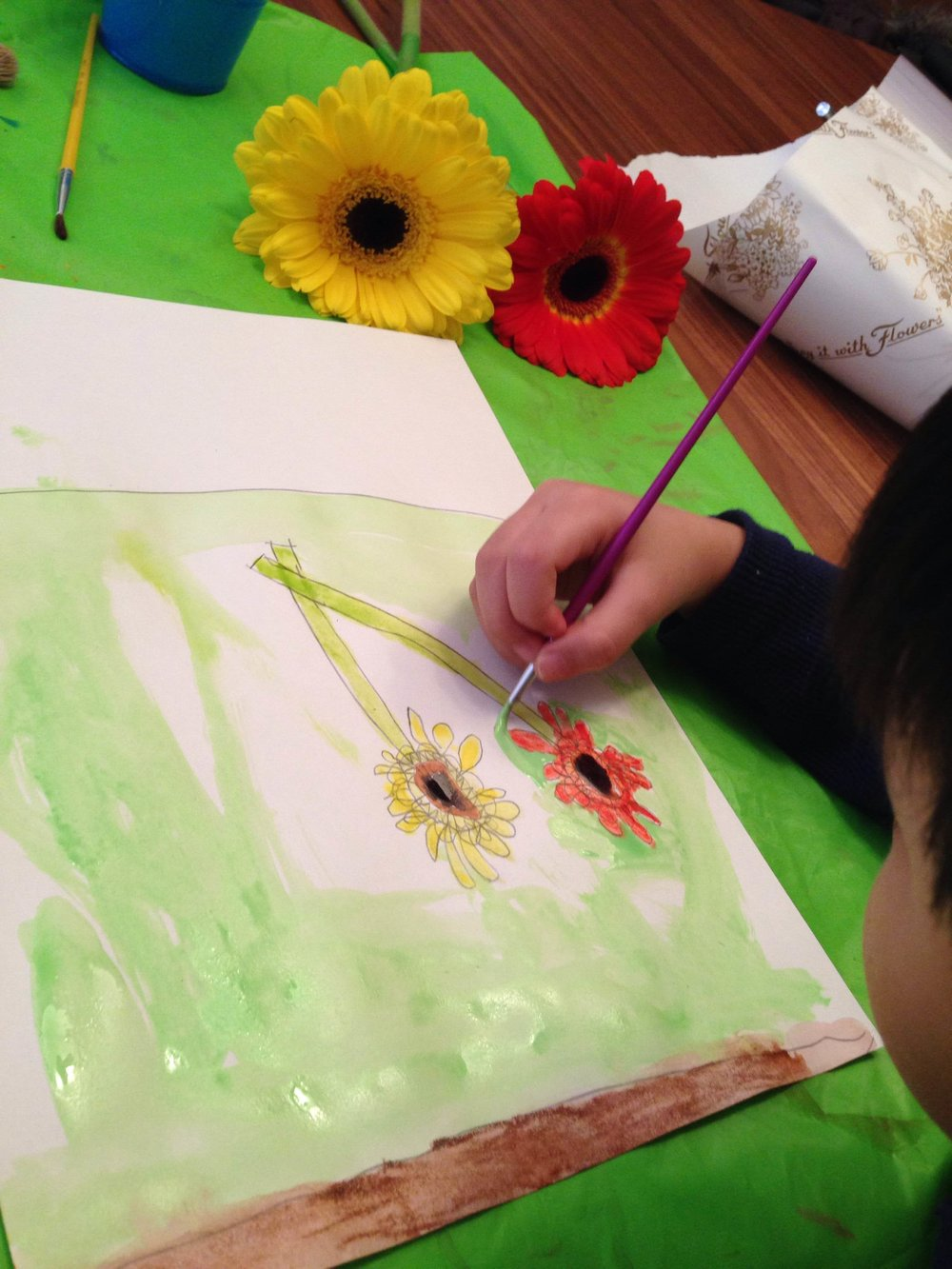 Observational drawing and watercolor paintings of flowers.