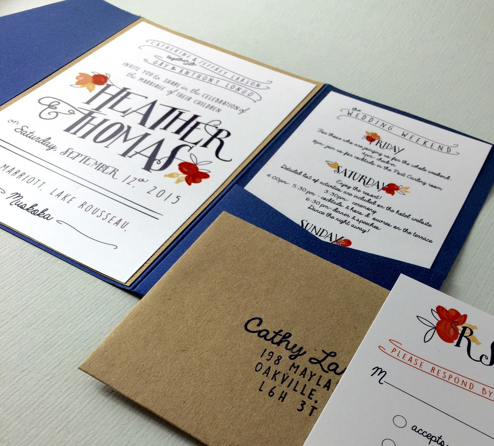 Heather & Thomas' custom wedding invitations
