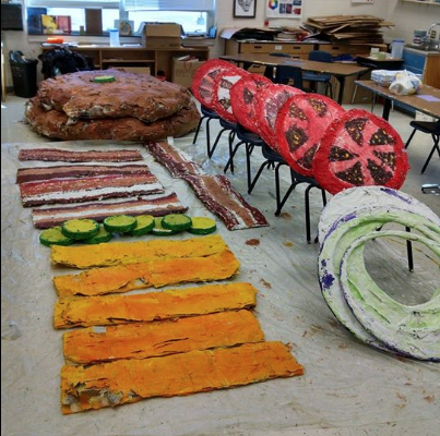 These massive hamburger ingredients make up the sculptural work of Peak View and Lacey Spring elementary students