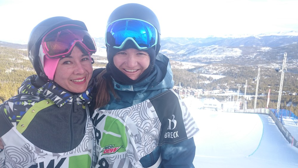 RIdding with legend Kelly Clark for the epic Winter Dew Tour