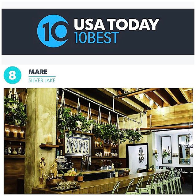 We are thrilled to be featured on @USAToday's 10 Best LA! Tap the link in our bio for the full article and visit us in Silverlake. | #marerestaurant