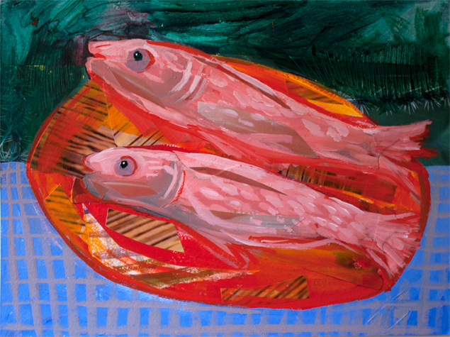 Cad Red Fishes , acrylic and collage on paper, 9 x 12 inches, 2014