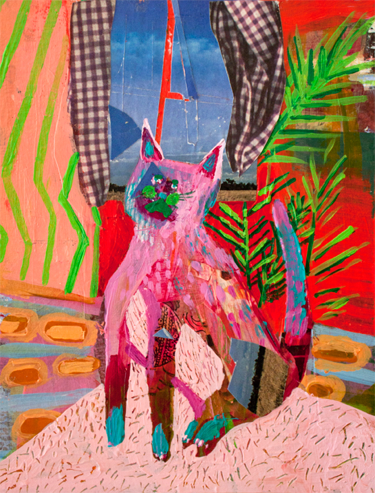 Cat Yearning,  acrylic and collage on paper, 6 x 7.75 inches, 2013