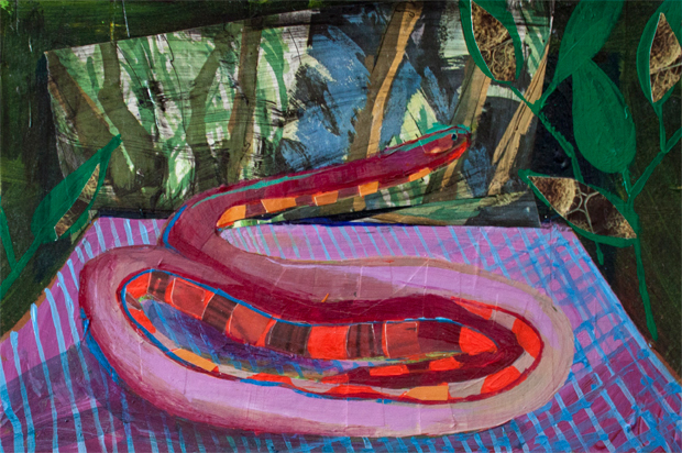 Pet Snake Paradise,  acrylic and collage on paper, 6 x 9 inches, 2013