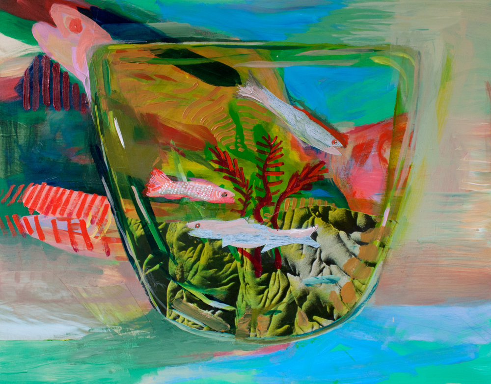 Fish Bowl  , acrylic and collage on panel, 11 x 14 inches, 2014