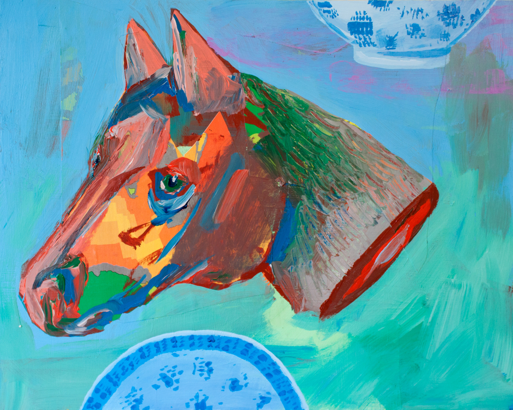 Horse Head , acrylic and collage on panel, 8 x 10 inches, 2014