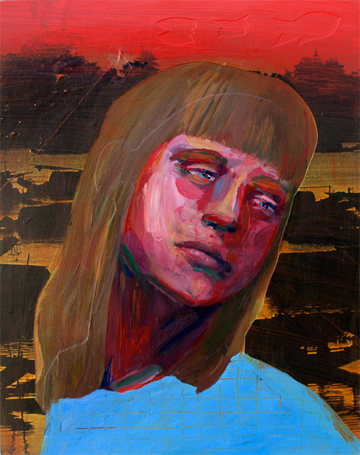 Mary at the Mountains,  acrylic and collage on panel, 2015