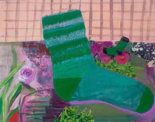 Socks, acrylic and collage on panel, 2015
