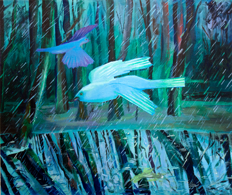 Birds in the Rain,  acrylic on canvas mounted on panel, 20 x 24 inches, 2016