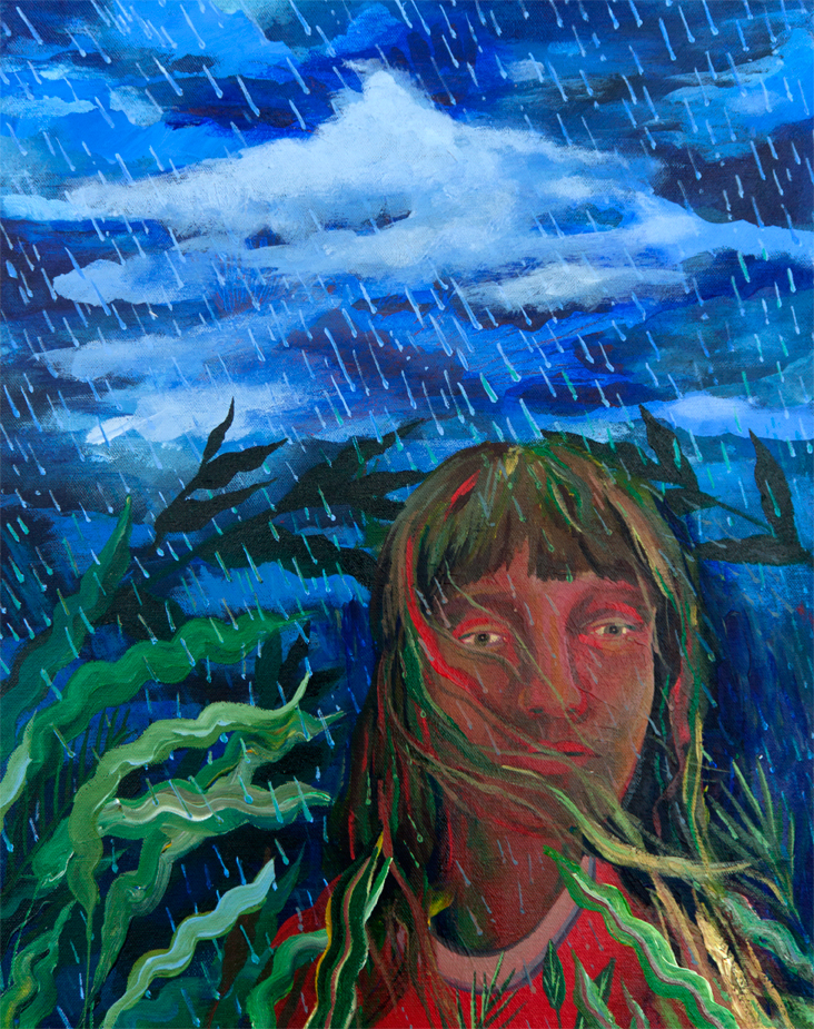 Girl in the Rain,  acrylic on canvas mounted on panel, 20 x 16 inches, 2016