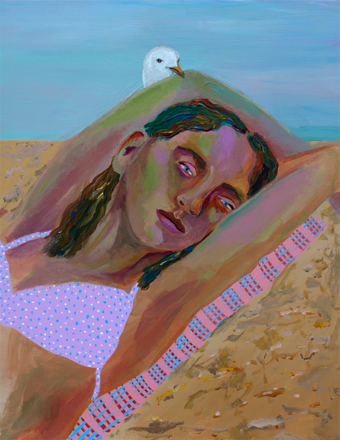 Girl with Seagull , acrylic on panel, 14 x 11 inches, 2016
