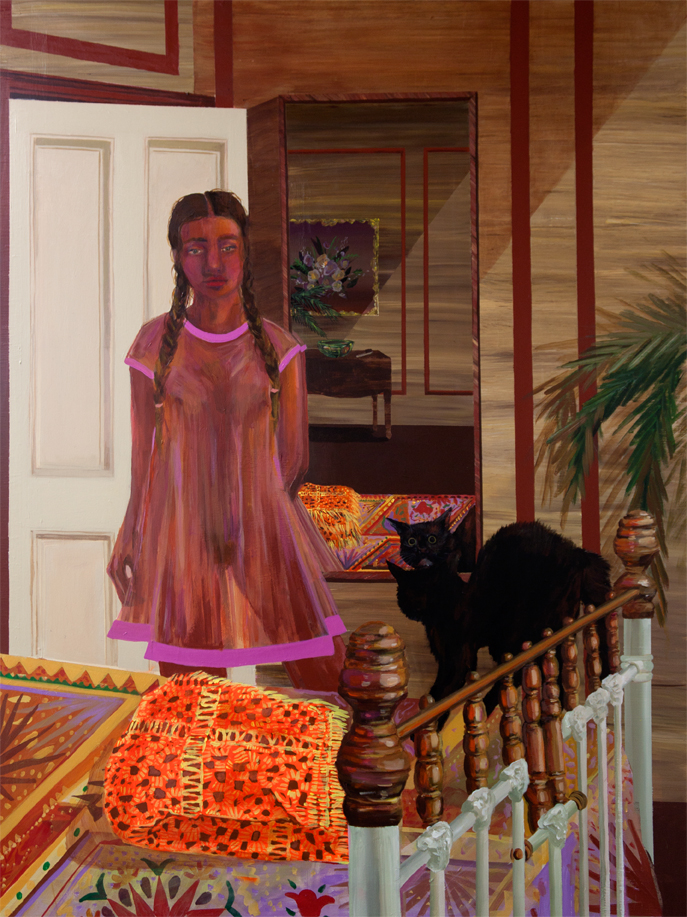 Sleepwalker Scares the Cat,  acrylic on panel, 48 x 36 inches, 2017