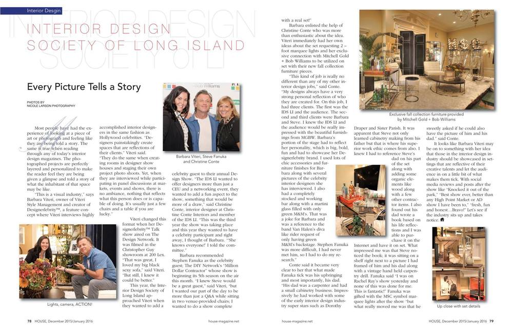 HOUSE Magazine Dec 2015 issue covers the IDS Design Show Barbara hosted with DIY Network's Million Dollar Contractor, Steve Fanuka