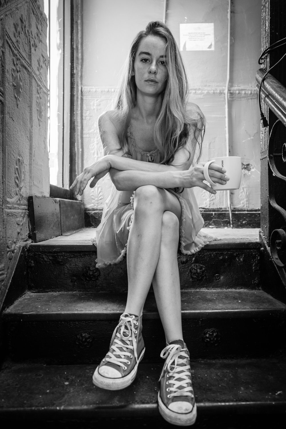"""Coffee in the Stairwell, 16""""x21"""", Gelatin Silver Print, 2016"""