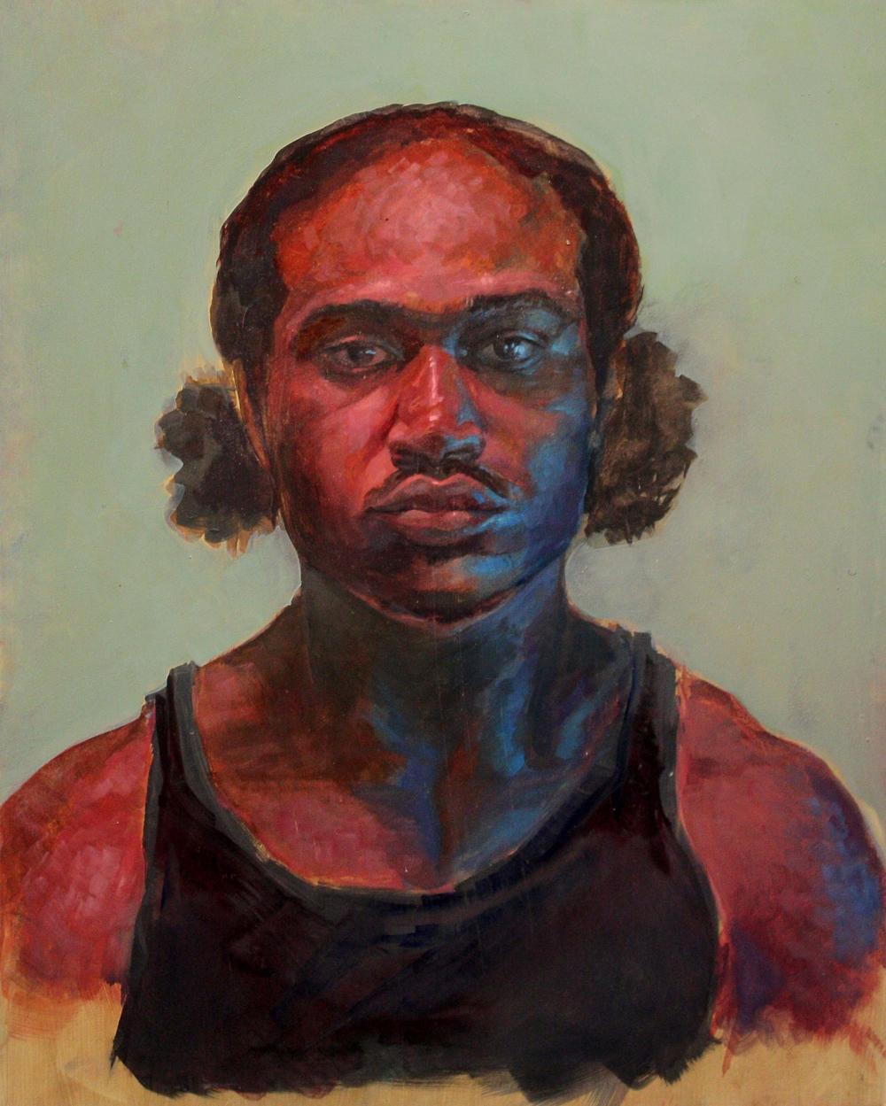 Self portrait. oil on panel 2014