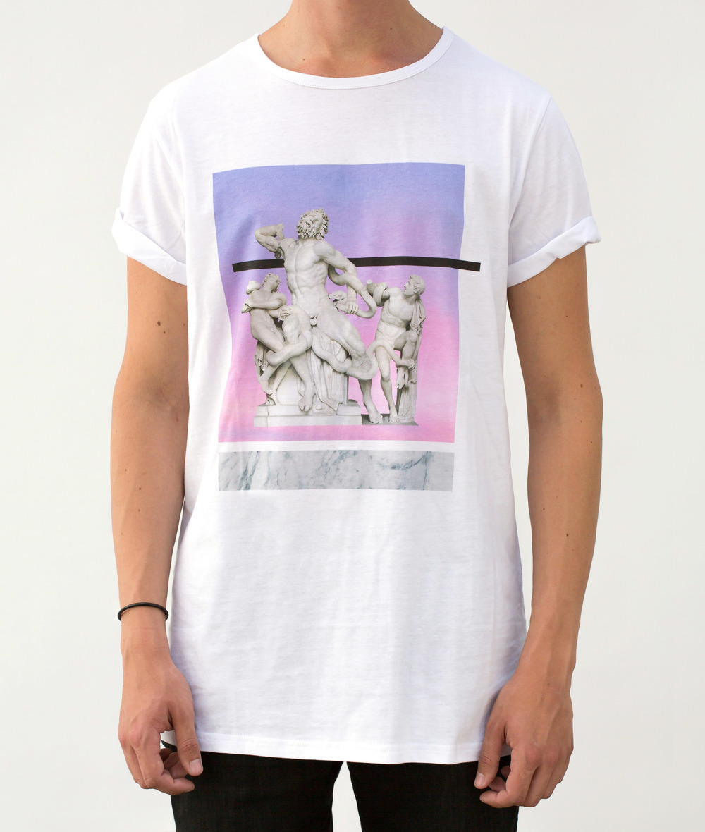 EPOQUE fashion - Greek Renaissance Statue T-shirt white longline