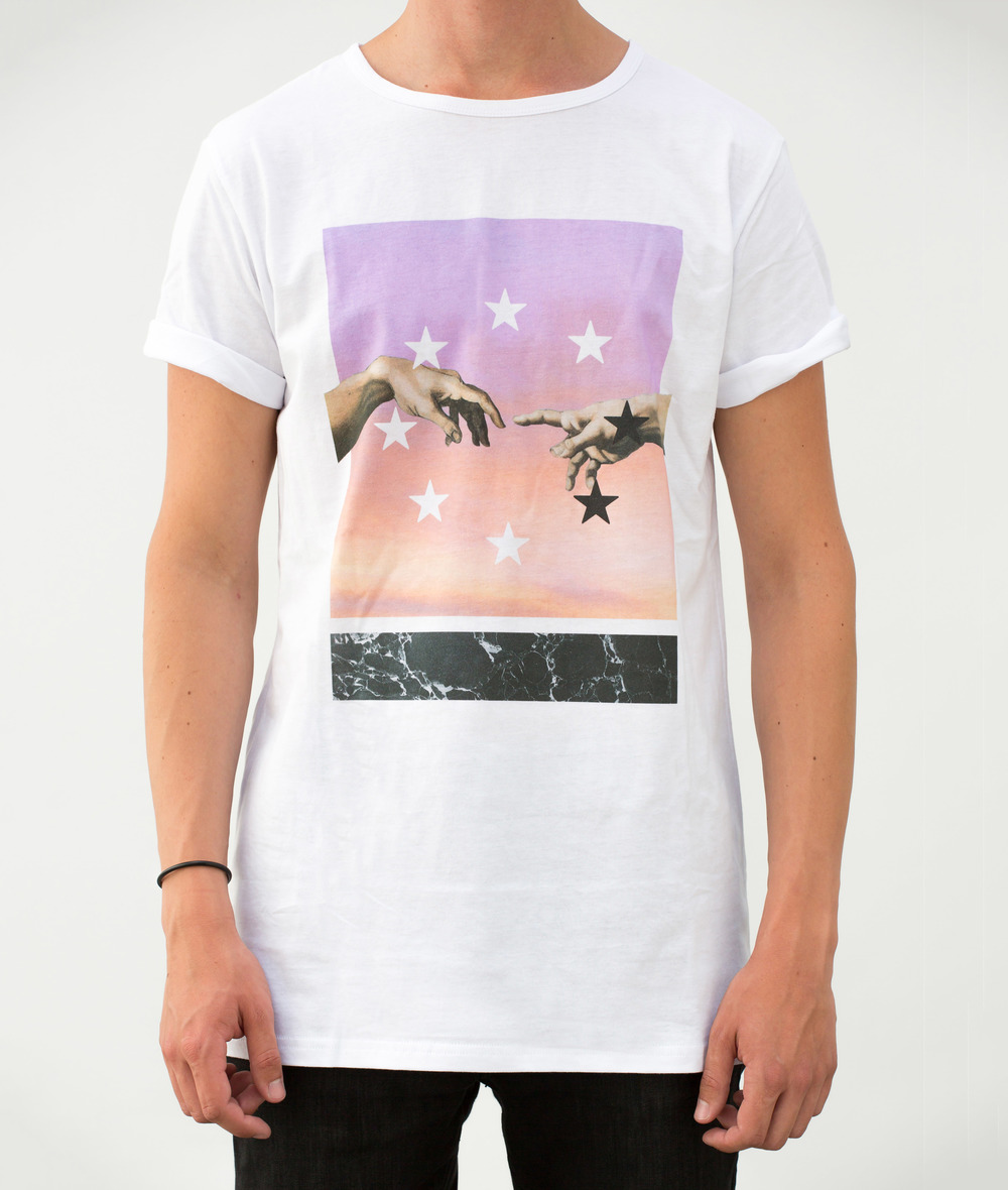 EPOQUE - Michelangelo hands and stars starcircle white longline tshirt
