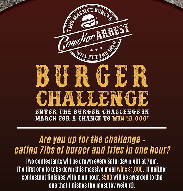 Are you up to the challenge? 🍔🍟🎰💰 #CanyonCasino #BlackHawk #Colorado #Casino #Bar #Restaurant #SlotMachine #Keno #VideoPoker #BlackJack #Craps #Roulette #Beer #Wine #Liquor #HotDog #CheeseBurger #Burger #HomeWrecker #Pizza #Pork #Habanero #Bacon #Chili #Cowboy #Bronco #Challenge #BurgerChallenge #FoodPorn