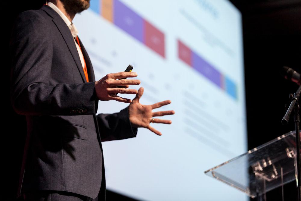 Speaker at business conference or presentation