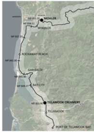 Detail of the coastal segment of the planned Salmonberry Trail. Recently completed planning work identifies potential costs for different trail engineering approaches in this segment.