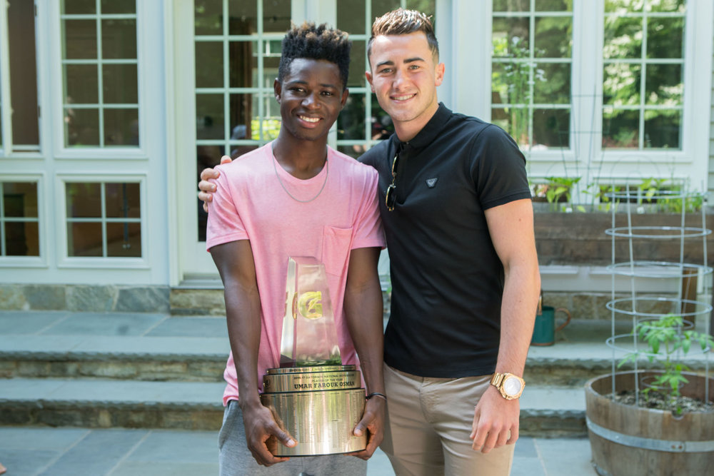 """2017 Gatorade National Player of the year umar farouk osman presented by 2015 aa participant and gatorade national player of the year jack harrison. """"Playing in the all American game was one of the best experiences I have ever had in my career. I got to meet amazing athletes from around the world with great personality as well. I got the opportunity to share my experiences with them and I got to learn a lot from them. My best memory in the all American game was just hanging out with the guys after practice in our hotel rooms and blasting music. It was such a friendly environment to live in. I have made a lot of friends after the all American game and most of them are my best friends now."""" Umar Farouk osman"""