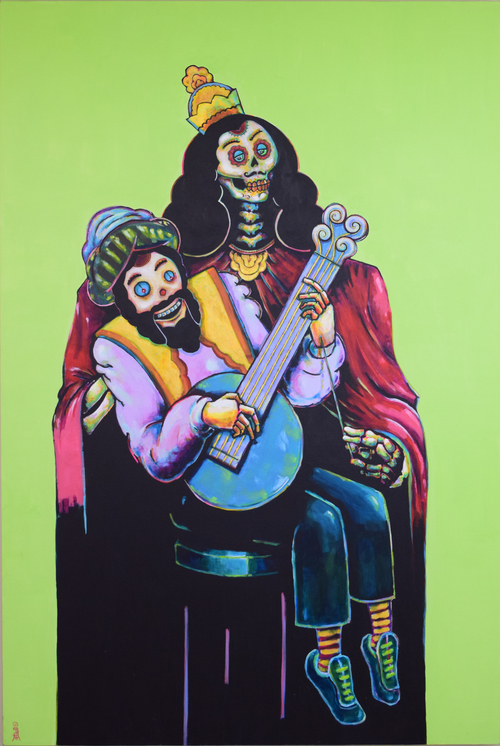 "Death and a Puppet, 48"" x 72"" acrylic on canvas"