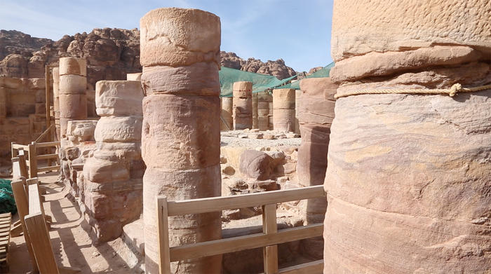 The main chamber of the Temple of Winged Lions in Petra.