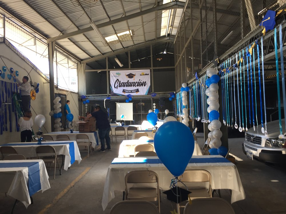 The garage at the MTES offices decorated for the New Dawn graduation ceremony.