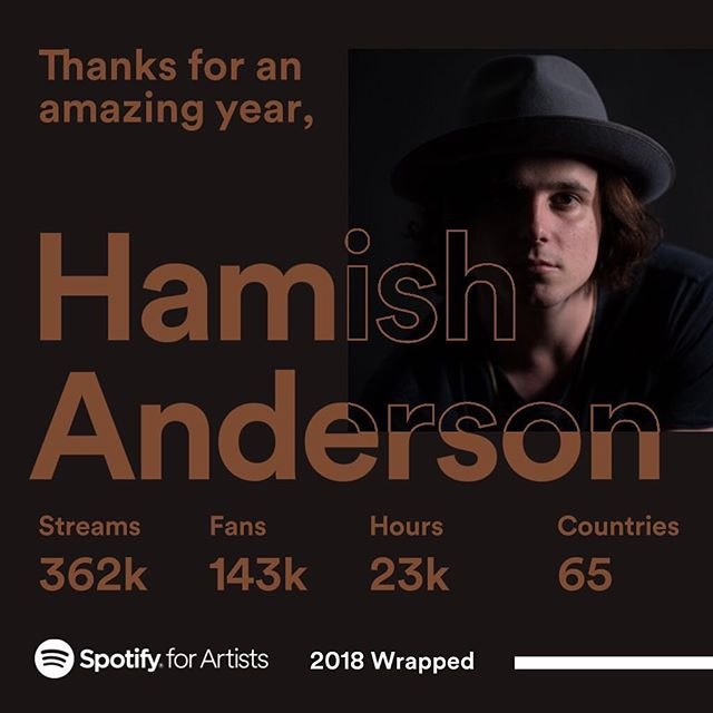 Thank you to everyone who listened on spotify this year 🙏 #2018