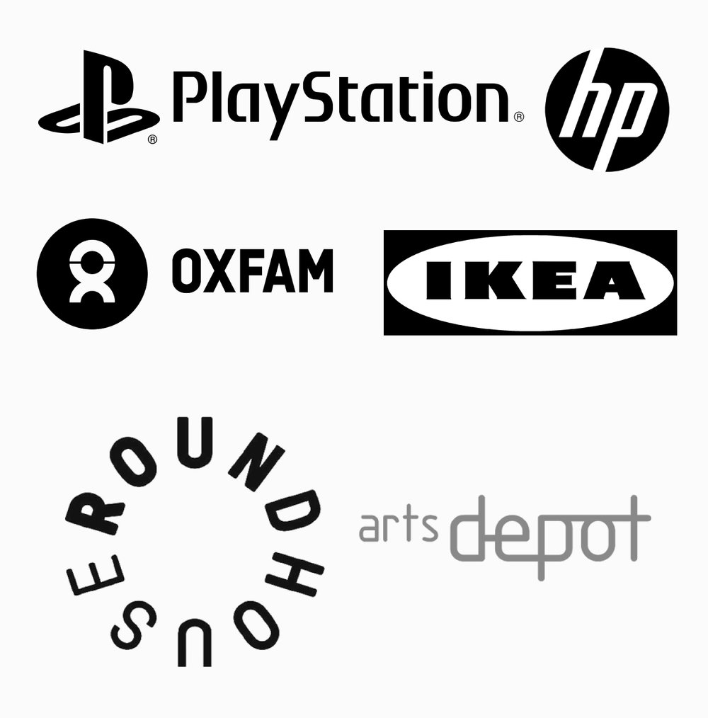 Clients include: - Sainsbury's, The Southbank Centre, Which?, The Old Vic, The Roundhouse, OXFAM, Playstation, IKEA, Hewlett Packard, Seen Presents, Bearded Kitten, Vita Coconut Water, Push UK, Miss Jones & Co, Paris Games Week, Pernod Ricard, Jamesons, Chivas, The Gherkin, Beefeater, Plymouth Gin, London Cocktail Week 2015,Associate companies and artists include:Rhum and Clay Theatre Company, Upstart Theatre, Arts Depot, The Handlebards, Red Door Studios, KriyaArts, FilmAble, Haltwhistle Film Project, Fluff Productions, Tim Hunkin, Lisa Luxx, Cherry Truluck, Kit Redstone, Xavier De sousa, Rebecca Crookshank, Sandra Dieckmann, Jessica Beck.