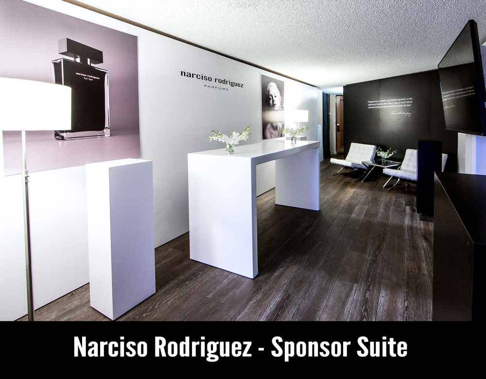 We worked closely with the Narcisco Rodriguez team to transform a standard hotel room into an art gallery inspired sponsor suite highlighting Narcisco Rodriguez fragrances. Drawing inspiration from their recent launch event in Paris we designed a space that was classic minimalist. The most dramatic transformation aspect were the custom wall panels that created a clean framework for the suite. Modern furniture, oversized hanging portraits, branded wall decals and white floral were the finishing touches to tie it all together. Guests were greeted with champagne and pink macaroons and the lovely scent of the Narcisco Rodriguez fragrances. Scope of Services Creative Design & Developement| Venue Management Vendor Management Furniture Rentals Branded Displays Custom Fabrication