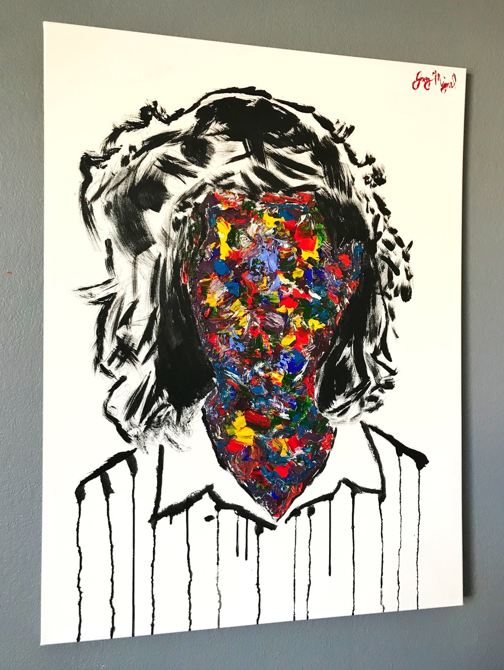 'Who Are You?'   40'' x 30''  Mixed Media on Canvas  $350