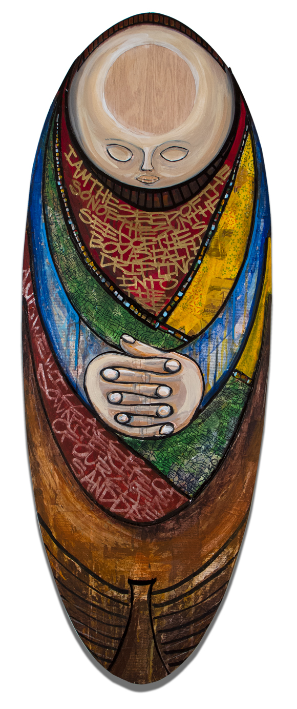 "Una Barca, mixed media on wood, 16""x42"""