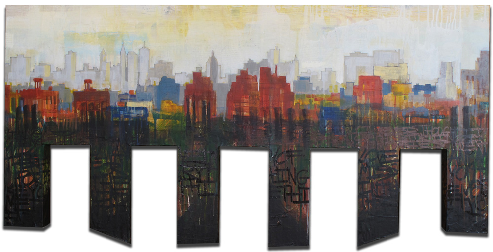 "City of Everything, Mixed Media on Wood, 48""x24"""