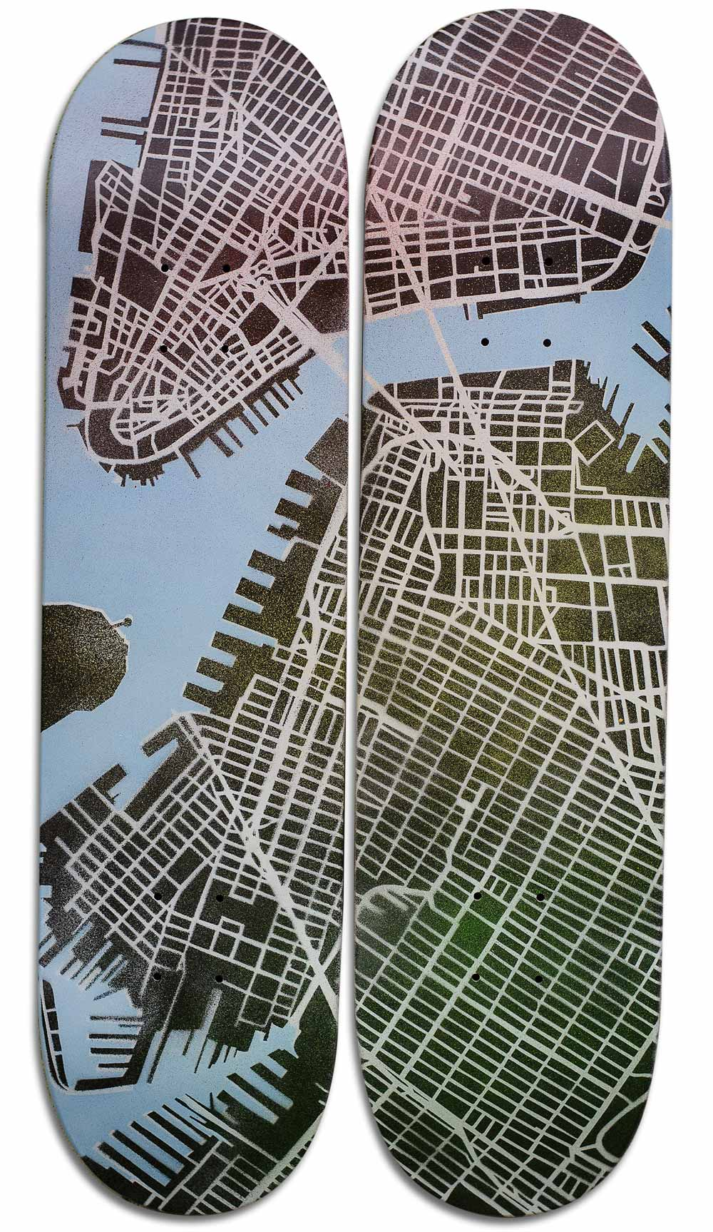 """Hello Brooklyn"" Skateboard Deck Diptych"