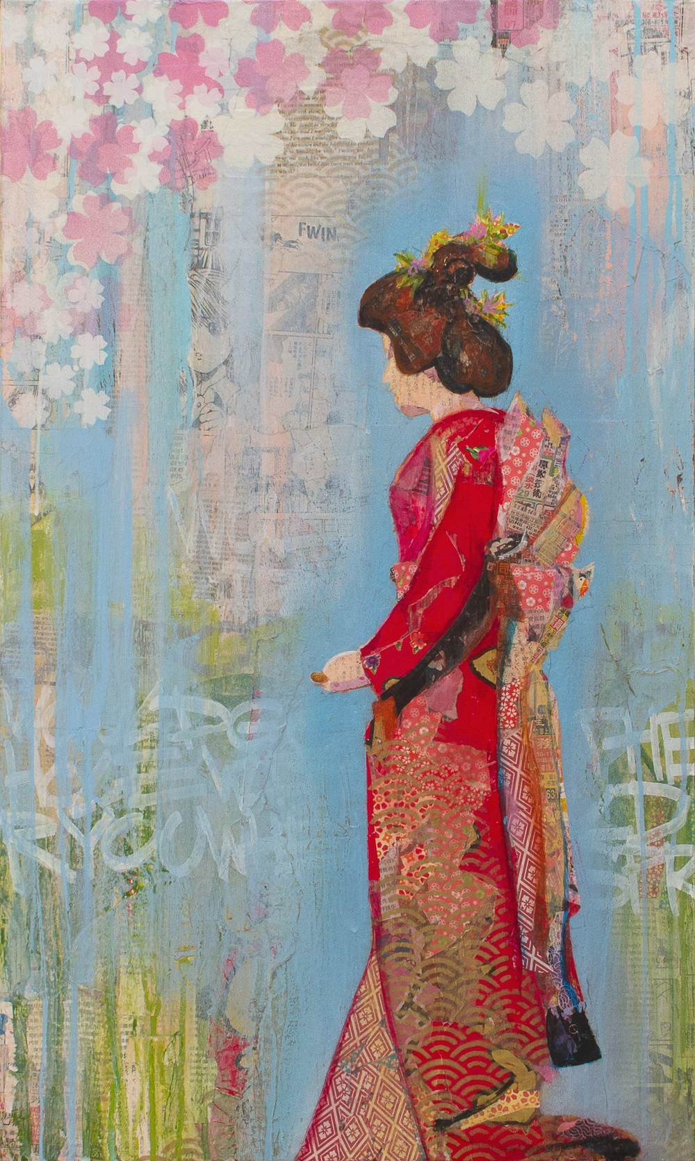 "Geisha, Mixed Media on Wood Panel, 16""x30"""