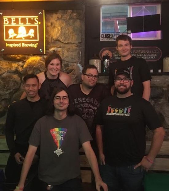 The Pride Minot Meet-and-Greet, held September 27, 2017, at the Tap Room.  Back row:   Brandon ,  Kylie , and  James , members of the Pride Minot board, and  Adam , a Tap Room bartender;  front row :  Eric , a member of the community, and  Jon , owner of the Tap Room.