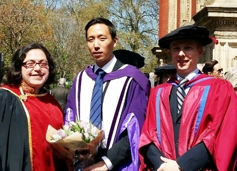 Dr Georgiou, Dr Chung and Professor Jones on Dr Justin Chung's graduation. Well done Justin!