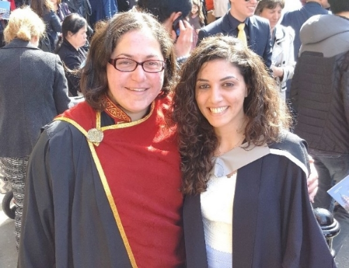 Miss Anna Constantinou at her MSc graduation with Dr Georgiou. May 2016. Congratulations Anna!